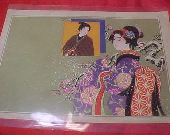Vintage Japanese Woodblock Print of 1910 Feminest Asian Women's Geisha Mentor 1 of Set