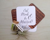 Wedding Coasters - Paper Coasters, Ultra Thick, Wood Grain, Paper Goods, Wedding Coasters, Calligraphy