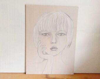 "Mixed media portrait painting, Chalk pastel, Girl portrait, Original painting, Pastel painting, Wall art, Fine art, 11.6 x 8.3"", On Sale"