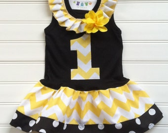 Girls Custom Dress Black Yellow Chevron Dress Girls Dress Number Dress Bumble Bee Party Chevron Dress Available 0-3 months through Size 6/8