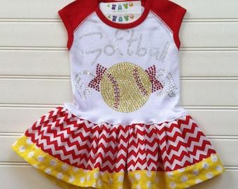 Girls Custom Dress Softball Dress Girls Dresses Baby Dresses Girls Softball Dress Girls Chevron Dress Available 6-12 months through 6/8