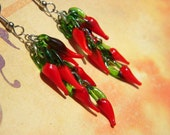 Spicy Hot CHILI Pepper Long Glass  DANGLE Earrings Kitschy COOL Pierced Choose Size