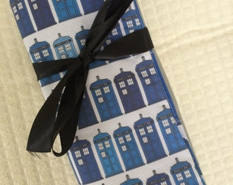 T.A.R.D.I.S. Doctor Who Knitting Needle Case Roll, Crochet Hook Case Roll, Paint Brush Case Roll, Makeup Brush Case Roll, Art Supplies Case