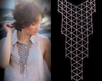 Geometric bib necklace, copper tone, modern statement necklace, link grid bib necklace, geo jewelry