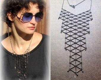 Geometric bib necklace, black gunmetal statement necklace, modern minimalist link grid necklace