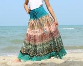Summer Maxi Skirt Floral Long Skirt Party Women Skirt Gifts Idea Skirt Ladies A Line Skirt Chiffon