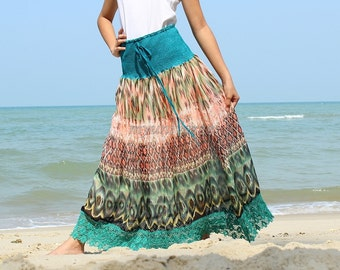 Summer Maxi Skirt Floral Long Skirt Party Women Skirt Gifts Idea Skirt Ladies A Line Skirt Chiffon