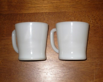 "2 White Fire King Oven Ware Mugs / ""D"" Handles / Restaurant Ware / Coffee Cups / Made in USA"
