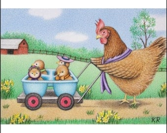 aceo hen chicks farm limited edition art print signed Cute Chicks Taking a Stroll Karen Romine KR free shipping Easter