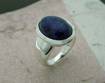 sodalite cabochon sterling silver ring