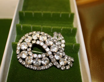 Ribbon Rhinestone brooch 1950's