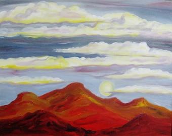 Mountain landscape painting, Original oil painting on canvas,  abstract mountain landscape