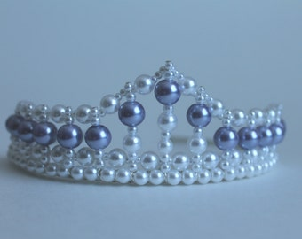 Pretty Pale Purple and Pearl Beaded Tiara