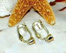 Earring Converters ~ Silver Plated ~ Clip On Earring Converters for Post Earrings - For Unpierced Ears ~ One Pair ~ Gold OR Silver