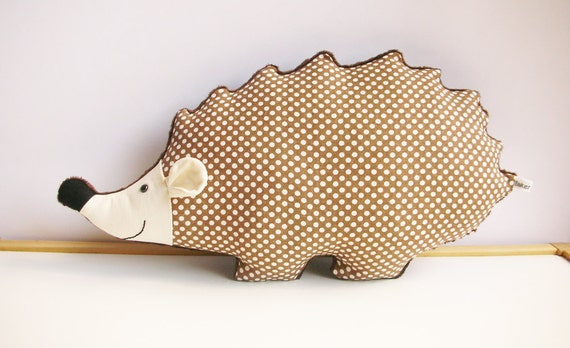 Hedgehog Nursery, Woodland Nursery Decor, hedgehog pillow, brown nursery