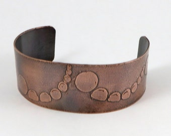 Trailing Dots Etched Copper Cuff, Copper Bracelet, 1Inch Wide Cuff, Copper Jewelry, Etched Jewelry, Metalwork Cuff
