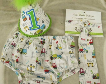 Baby boy / Toddler Necktie Party Hat & Diaper Cover First Birthday Photo Cake Smash Outfit in Construction