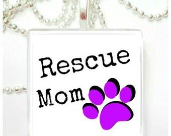 Rescue Mom Glass Pendant