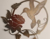 Hummingbird and Flower  Metal Sign, Wall decor
