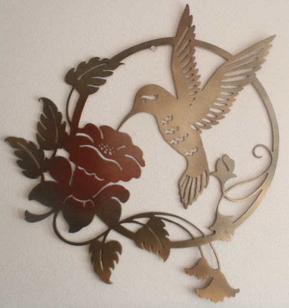 Items similar to hummingbird and flower metal sign wall for Hummingbird decor