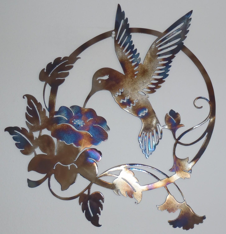 Hummingbird and flower metal sign heat colored wall decor for Hummingbird decor