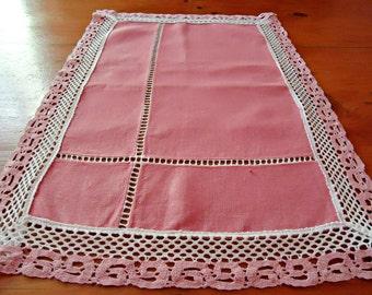 Pink Linen Table Runner Lotus Table Topper  Vintage Linens  B140