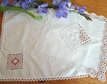 2 White Doilies Open Work Doily  Vintage Linens B141