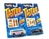 2 Hot Wheels Tattoo Machines Lightning Storm & Bus Boys MOC