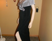 Classic Formal 1980S Gown. Prom. Wedding. Holidays. Navy & White Nautical Style. slit up each side