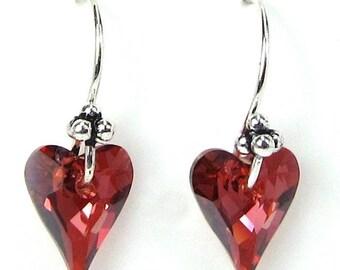 Red Crystal Earrings, Swarovski Red Magma Crystal Heart Earrings, Valentines Day