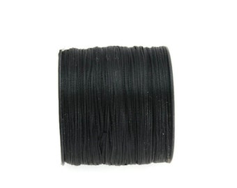 Black  Waxed Polyester Cord, Black Waxed Polyester Thread (0.8mm) 10m - 11yards S 40 002