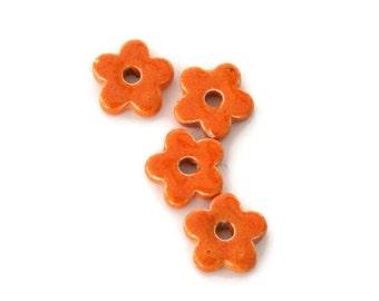 5 Orange Ceramic Flower Beads, Orange Flowers C 10 183