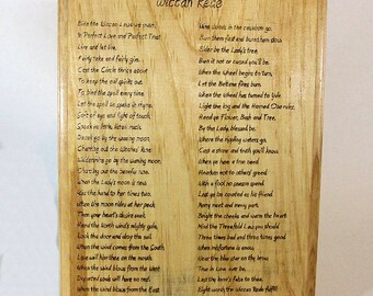Wood burned plaque with Full Wiccan Rede