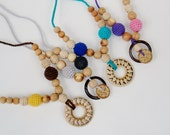 Natural Nursing necklace -Organic Teething Necklace - Breastfeeding necklace with juniper beads -choose your colors