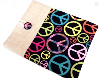 iPad Cover Case, iPad Padded Sleeve - Peace signs fabric in black, pink, aqua and yellow  - Linen