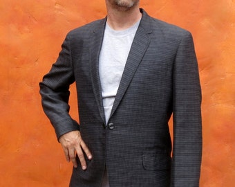 SALE Vintage 1950s 1960s Men's single Breasted Grey Black Checked Plaid Sportcoat. 42R Vintage Sport coat. retro suit coat blazer
