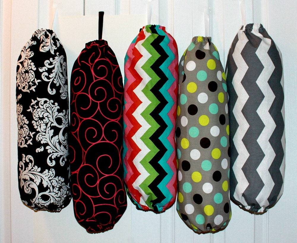 Fabric plastic grocery bag holder dispenser kitchen