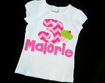 Girl, toddler, baby personalized pink chevron birthday number / initial and name applique SHIRT, lime green polka dot cupcake sizes NB - 16