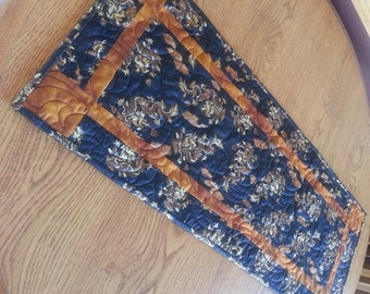 Dragons Table Runner, Oriental Quilted Table Runner, Asian Table Runner