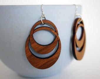 Laser Cut Walnut Wood Hoop earrings