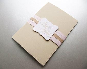 Wedding Invitation, Lace Wedding Invitation, Blush Pink and Beige invitation - Sample
