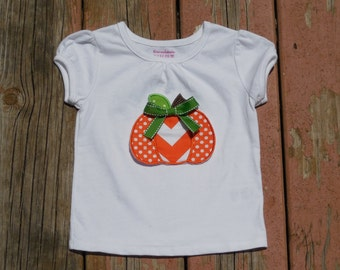 Girl's Toddlers Personalized Orange Pumpkin Shirt