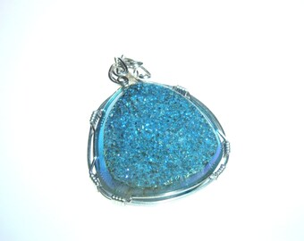 Wire Wrapped Teal Drusy Quartz and Silver Pendant