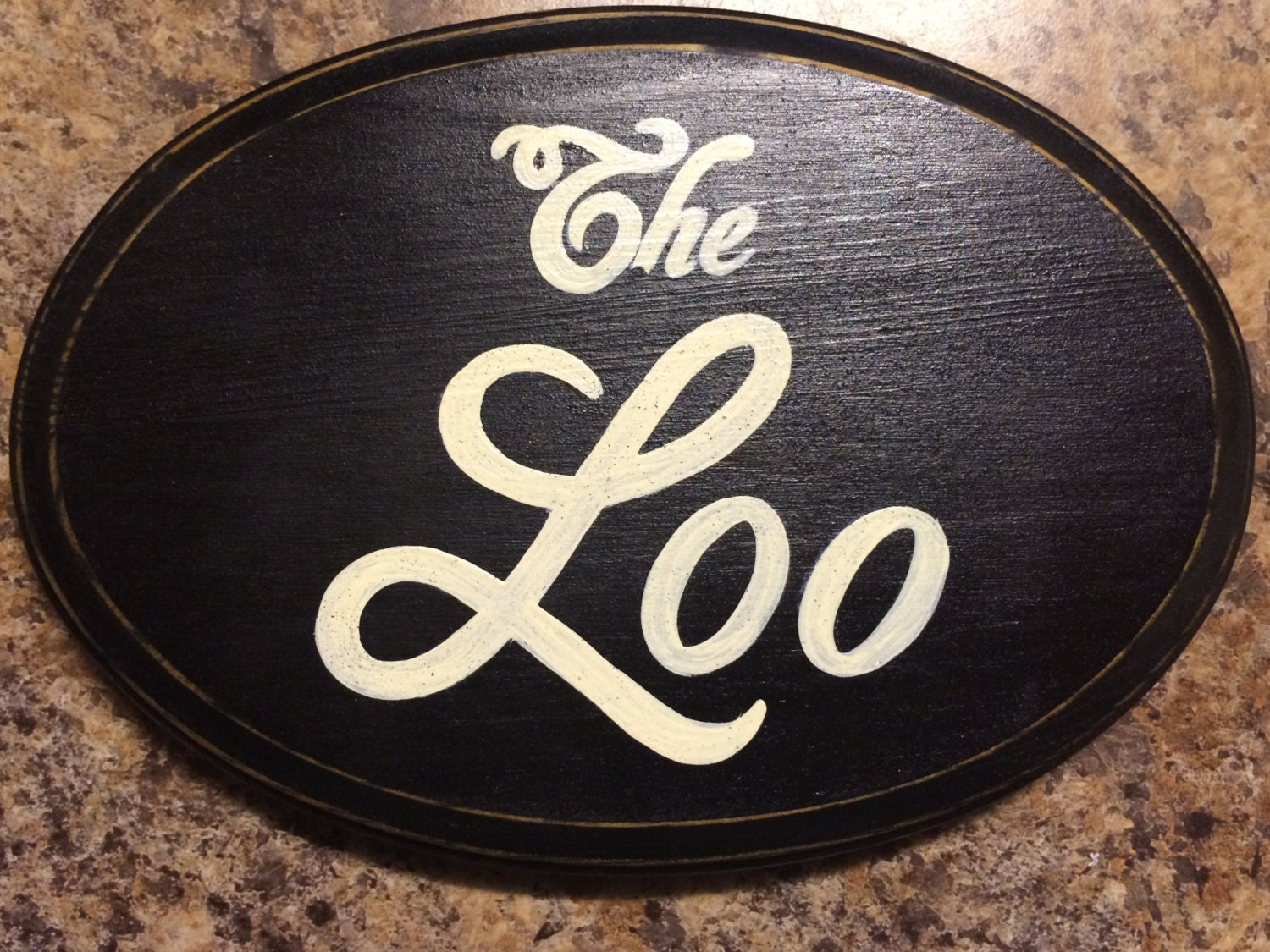 The Loo Oval Plaque Wooden Hand Painted Sign European English Bathroom Restroom Wall Decor You Pick
