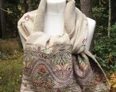 WOOL SCARF Boiled Wool Embroidery Shawl Scarf Winter Warm Unique Handmade Wearable Art