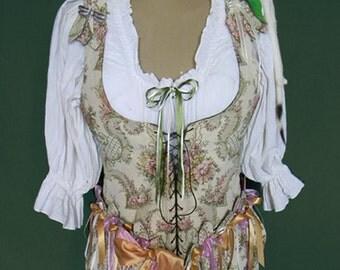 OOAK Handmade Faerie/Renaissance Bodice with Petal Epaulettes & Removable Petal Skirting Panels.