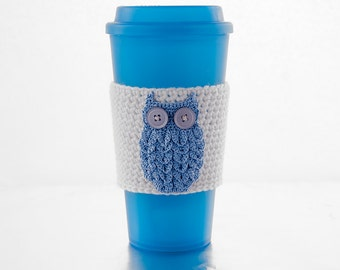 Resuable coffeehouse sleeve, blue owl, kappa kappa gamma mascot, crocheted, white sleeve, crocheted applique owl, cup cozy, coffee cozy