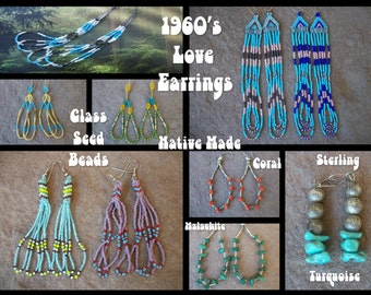 1960s BEADED LOVE EARRINGS Long Dangle Boho Hoops Sterling Silver Turquoise Native American Navajo Choice Coral Malachite Nugget Glass Beads