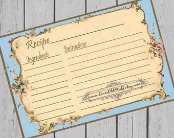 Printable Blank Recipe Card | 3x5 Blue Recipe Card For Bridal Shower Favors | 4x6 Recipe Cards 3.5x5 | Hostess Gift Ideas