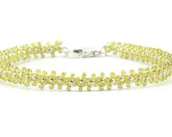 Layering Bracelet - Green Bracelet - Beaded Chain Bracelet - Seed Bead Bracelet - Beadwork Jewelry - Daisy Chain - Beaded Jewelry